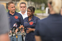Kanika Tomalin leading a press conference in the wake of Hurricane Irma.