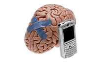 Fake brain with bandaids and cell phone