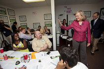 Meg Whitman visits a campaign office.