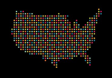 map of the United States with black background, colored lights