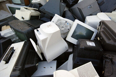 Pile of old computer and TV monitors