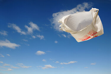 Plastic bag floating in the air