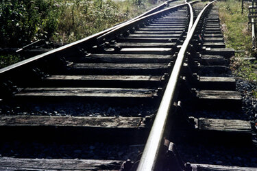 Close-up shot of train tracks