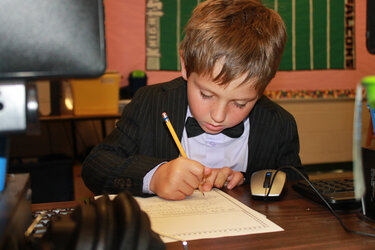 A student at Chestnut Mountain Elementary, one of the charter schools in Hall County, Ga.