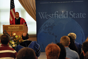 Massachusetts Gov. Deval Patrick speaking at the Westfield State University's class of 2011 convocation.