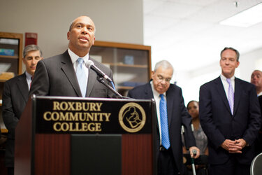 Massachusetts Gov. Deval Patrick and Boston Mayor Thomas Menino make an announcement relative to career pathways partnerships at Roxbury Community College.