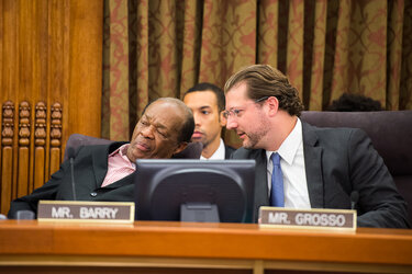 D.C. Councilmembers Marion Barry and David Grosso during a City Council meeting.