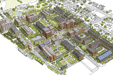 A rendering of the redevelopment of the South Lincoln neighborhood in Denver.