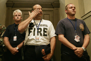 New Orleans firefighters getting emotional in church