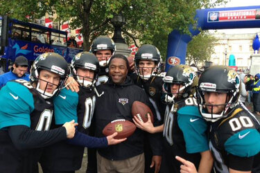 Mayor Alvin Brown with some of the Jacksonville Jaguars in London.