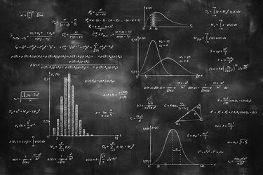 Formulas on a chalkboard.