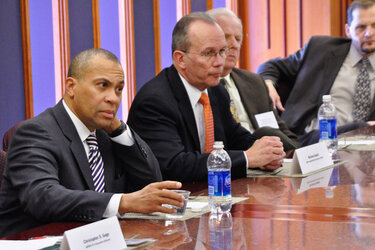 Massachusetts Gov. Deval Patrick, left, with administrators and doctors from the South Shore Hospital & Physicians Association.