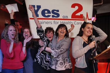 Supporters of Medicaid expansion celebrate their victory in November.