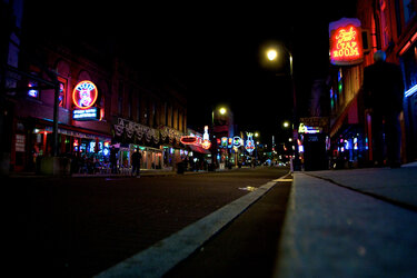 Beale Street at night in Memphis