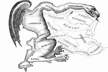 "This political cartoon was the inspiration for the term ""gerrymandering."" It was drawn in reaction to the state senate electoral districts created by the Massachusetts legislature in 1812."