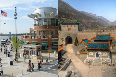 The National Harbor in Prince George's County, Md., (left) and the Great Wall of China in the Changping District of Beijing (right) have become tourist attractions for each.