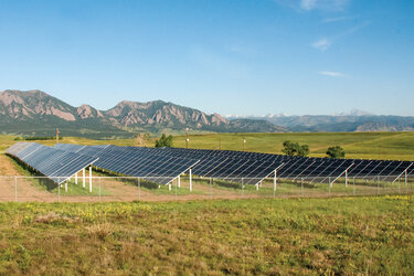 The Boulder Cowdery Meadows community solar array in Boulder, Colo.