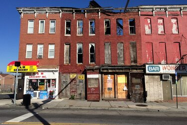 Vacant row houses in West Baltimore