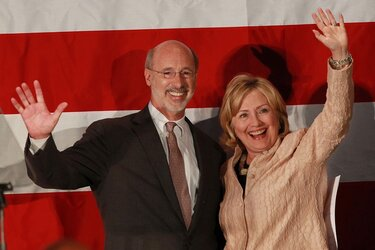 Hillary Clinton campaigning for Tom Wolf.