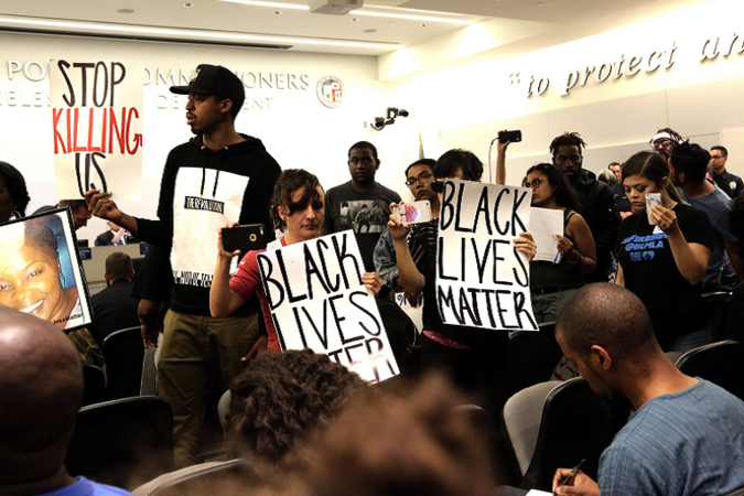 Black Lives Matter protesters at a Police Commissioners meeting in Los Angeles.