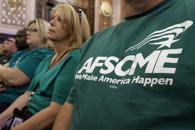 AFSCME members sitting down