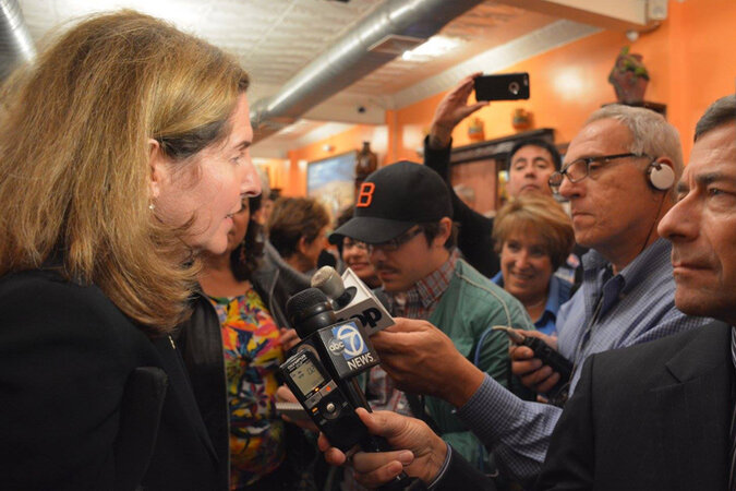 Alexandria, Va., Mayor Allison Silberberg being interviewed by reporters.