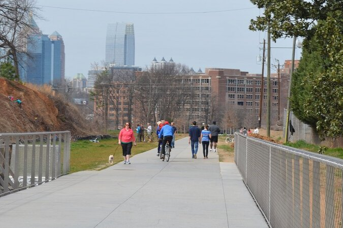 People walking and biking on the Beltline.