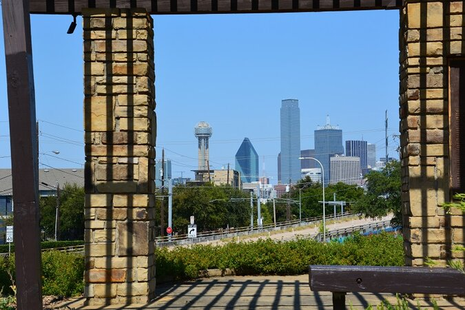View of downtown Dallas from a park gazebo in Oak Cliff.
