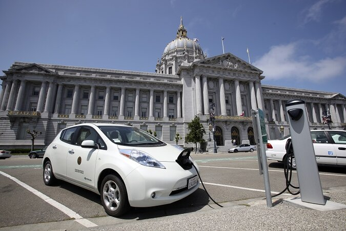 Electric car charging in front of California Capitol.