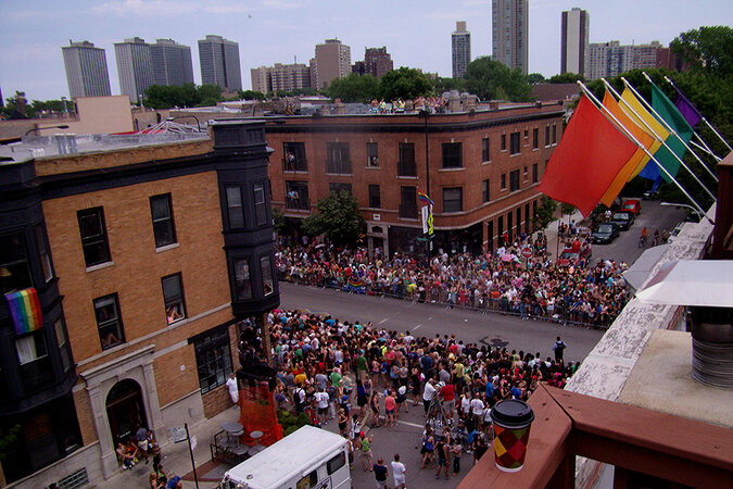 The gay pride parade in Chicago's Boystown neighborhood.