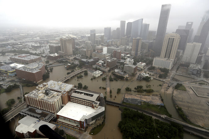 Downtown Houston surrounded by floodwaters from Tropical Storm Harvey on Tuesday.
