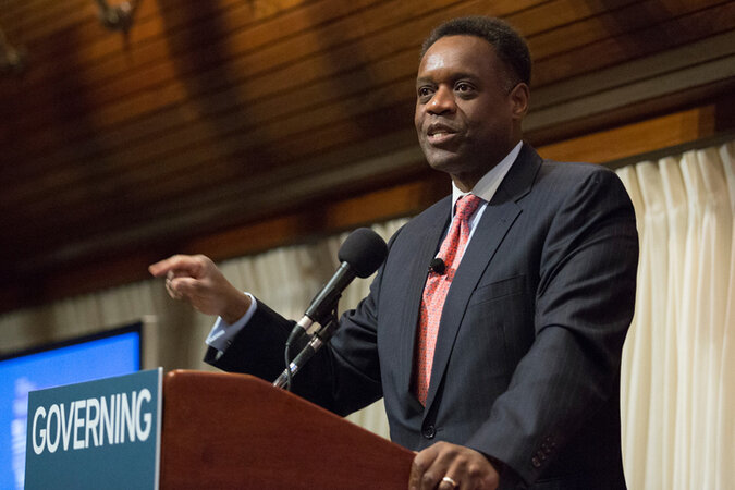 Former Detroit Emergency Manager Kevyn Orr giving a speech.