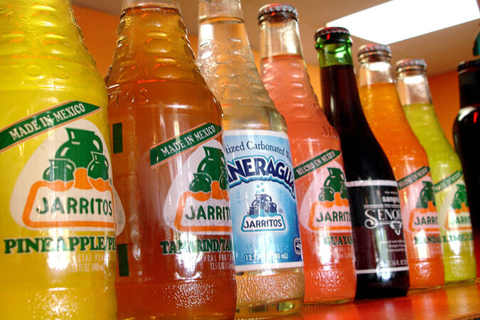 Bottles of Mexican soda