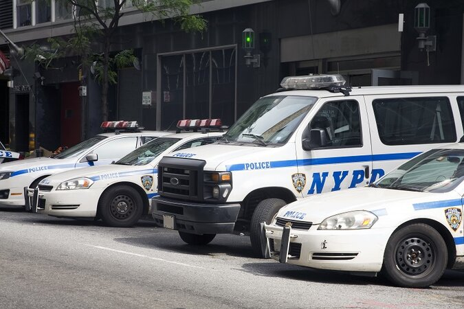 New York City police fleet parked at the station.