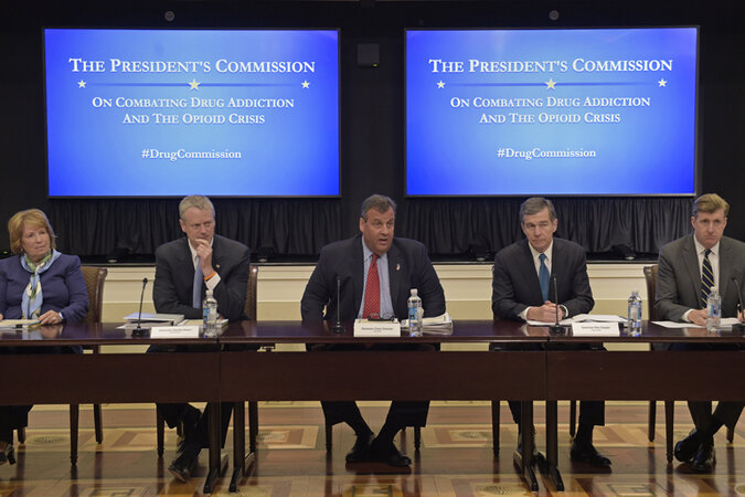 The first meeting of the president's opioid commission. From left: Dr. Bertha K. Madras, a Harvard Medical School professor who specializes in addiction biology, Massachusetts Gov. Charlie Baker, New Jersey Gov. Chris Christie, North Carolina Gov. Roy Coo