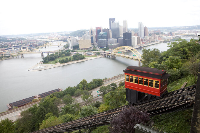 The Pittsburgh skyline, including the incline