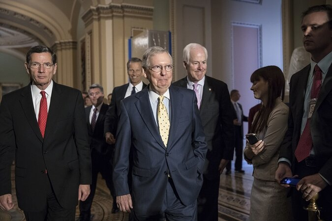 U.S. Senate Majority Leader Mitch McConnell, joined by GOP Senators John Barrasso, Cory Gardner, John Thune and Majority Whip John Cornyn, after closed-door talks about the health bill.