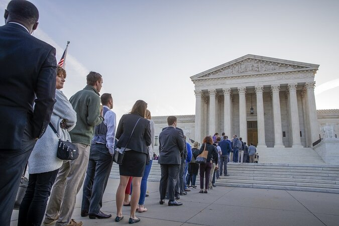People lined up at the Supreme Court