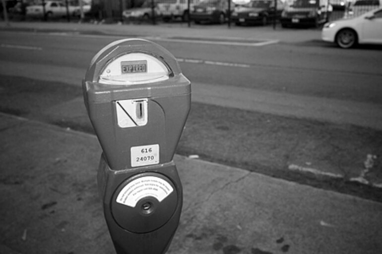B&W photo of a parking meter