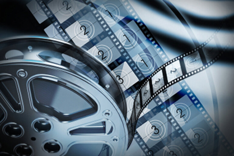 Movie film strip montage
