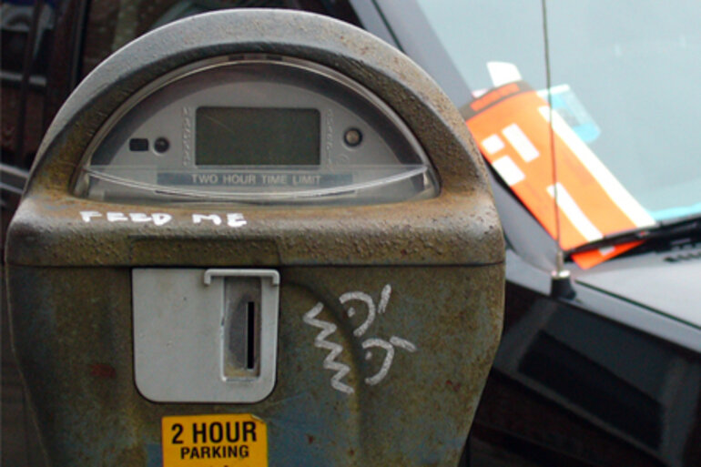 Expired parking meter and ticket