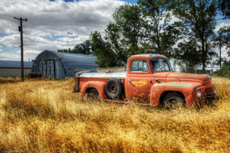 Old truck in tall, dry grass in rural America