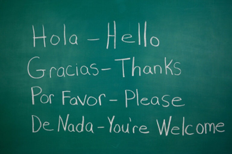 Spanish words with English translations on chalkboard
