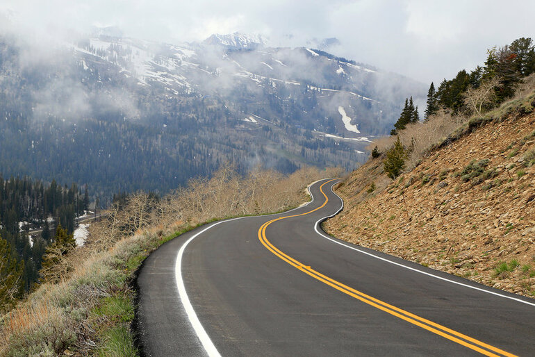 A winding mountain highway