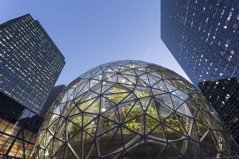 The Amazon headquarters in Seattle