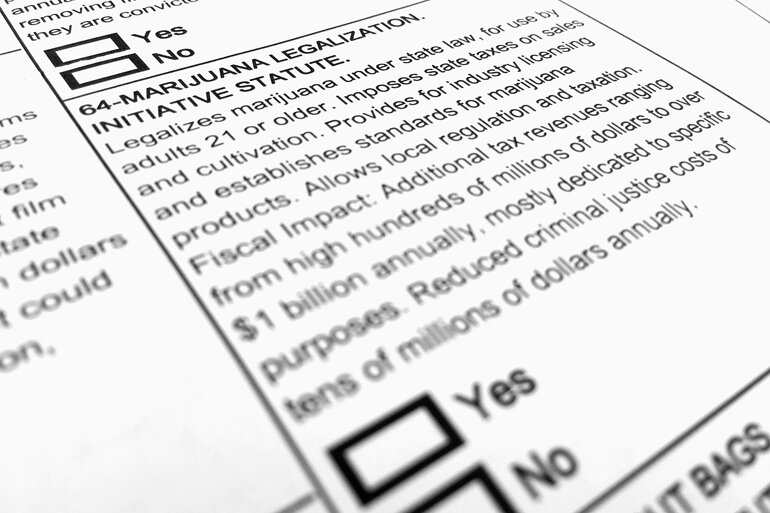 Ballot with marijuana measure on it.