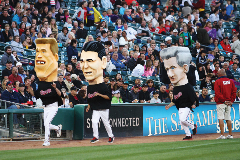 The Sacramento River Cats' Heads of State race, where three giant mascots of past governors -- Ronald Reagan, Arnold Schwarzenegger and Gray Davis -- race around the stadium.