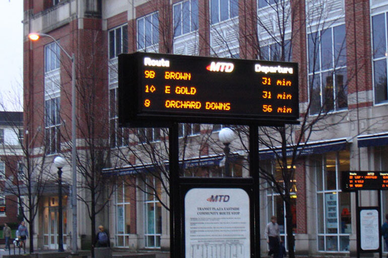 A bus stop on the University of Illinois at Urbana-Champaign campus.