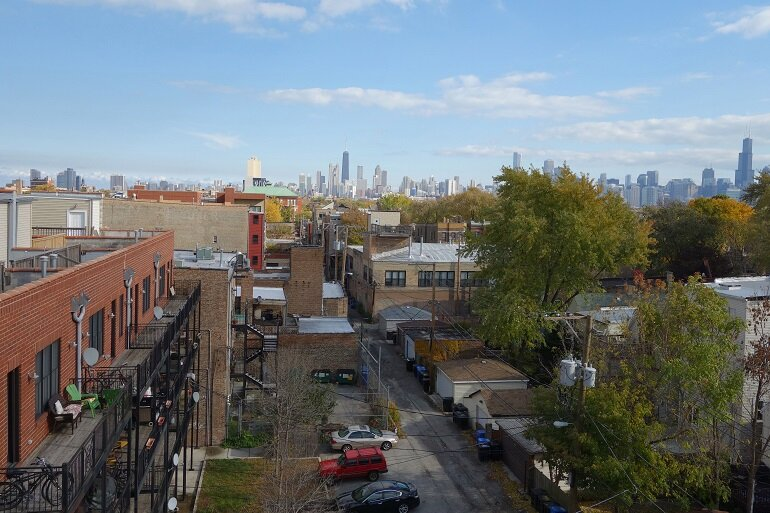 View of Chicago skyline from the suburbs