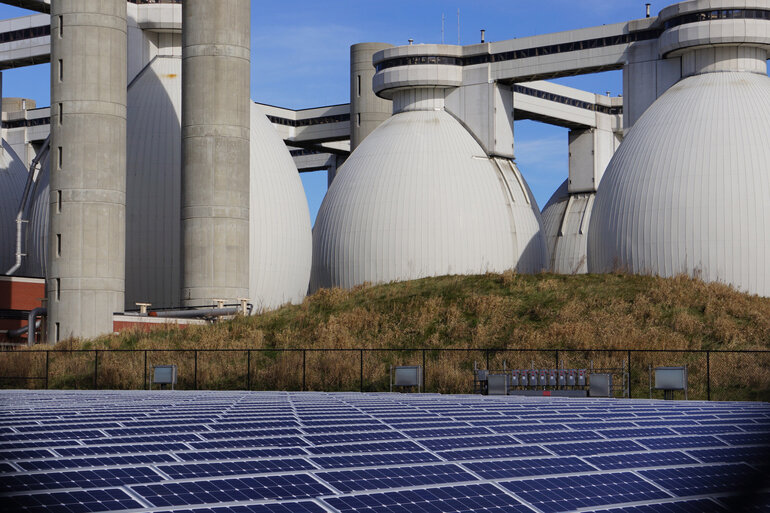 An anaerobic digester and solar panels in Massachusetts.